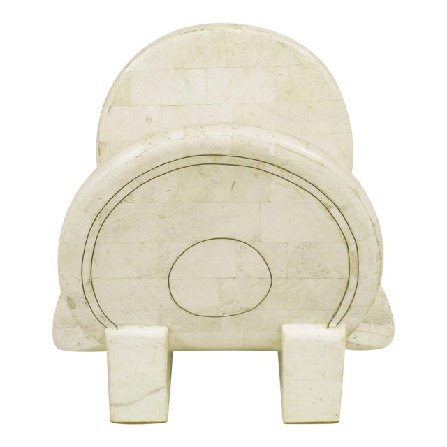 Tessellated Fossil Stone and Brass Postmodern Magazine Holder - Image 1 of 5