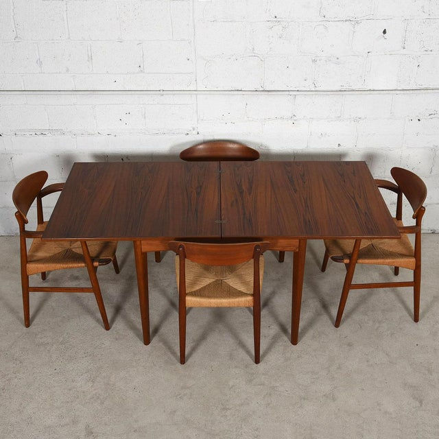 Danish Modern Teak Square to Rectangle Dining / Game Table - Image 7 of 7