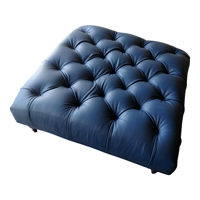 Gambrell Renard Tufted Blue Leather Ottoman - Image 1 of 7