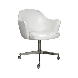 Saarinen for Knoll Desk Chair on Swivel Base in White Leather