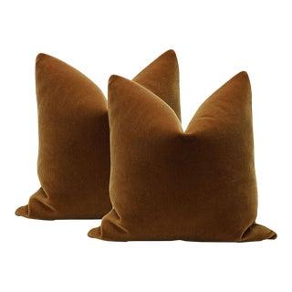 """22"""" Cognac Mohair Velvet Pillows - A Pair"""