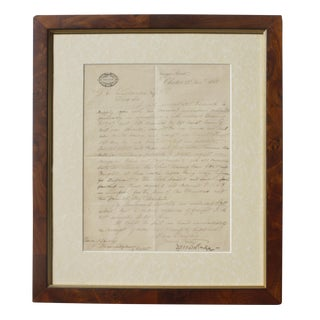 Antique Framed Handwritten Letter From James Rigg for Waterwheel Construction, 1881