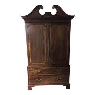 19th Century Inlaid Mahogany Linen Press