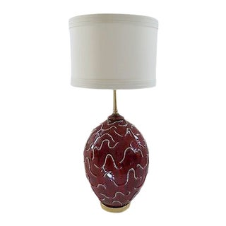 Tall Mid-Century Red Waves Ceramic Table Lamp