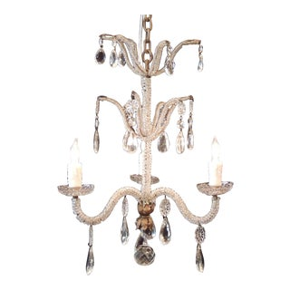 Early 20th C Italian Crystal and Tole Chandelier
