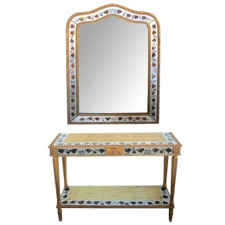 French Maison Jansen Neoclassical Style Églomisé Console Table and Mirror