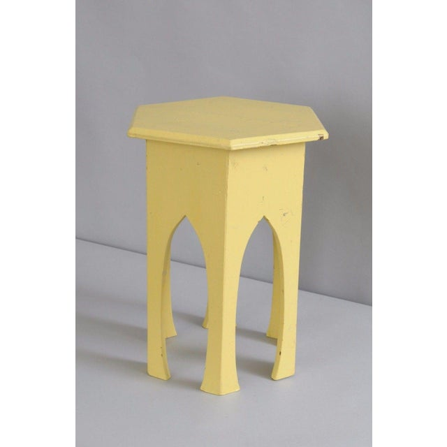 Primitive Rustic Moorish Style Yellow Painted Arched Accent Side Table - Image 9 of 11