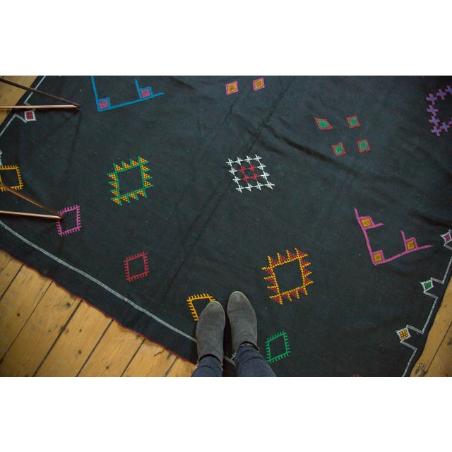 Black Moroccan Embroidered Kilim Carpet - 6' x 9' - Image 3 of 7