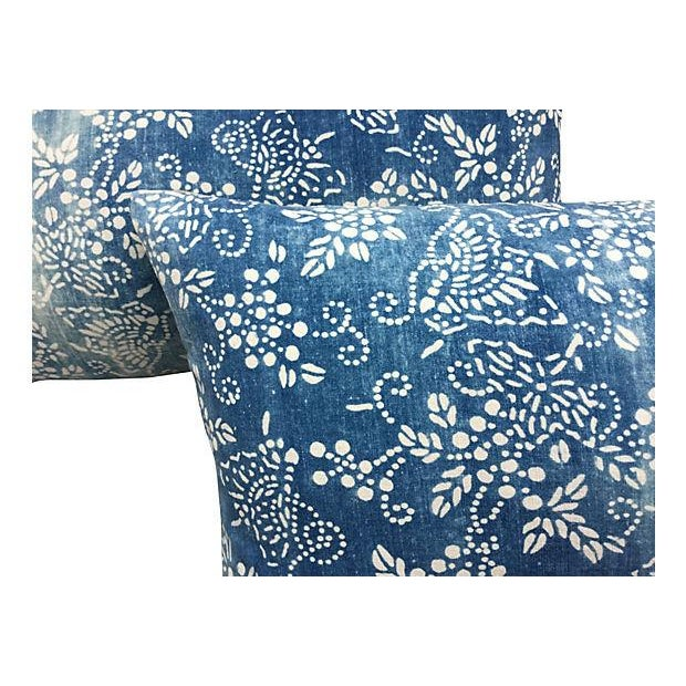 Faded Blue & White Batik Pillows - A Pair - Image 2 of 5