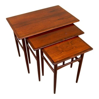 Set of Swedish Mid-Century Modern Rosewood Nesting Tables, Circa 1950