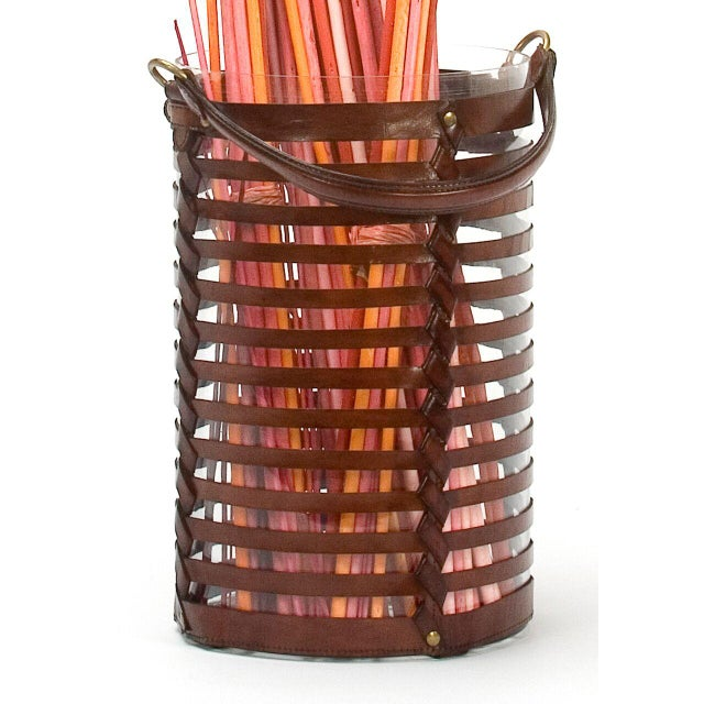Image of Sarreid Ltd. Leather Hurricane Baskets - A Pair