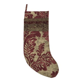 Gold Metallic & Red Linen Christmas Stocking