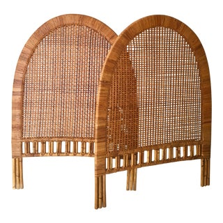 Vintage Rattan Twin Headboards - A Pair