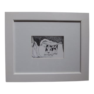 Original 1990 Susan Wilhite Cow & Calf Sketch