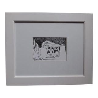 Original 1990 Susan Wilhite Cow Sketch