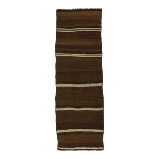 Vintage brown and white striped natural kilim runner rug