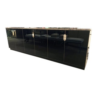 Black Glass Sideboard With Brass Details & Speckled Granite Top