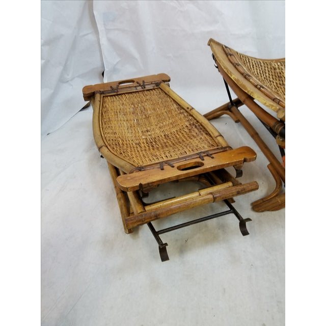 Vintage Rattan Sling Chair With Ottoman - Image 4 of 8
