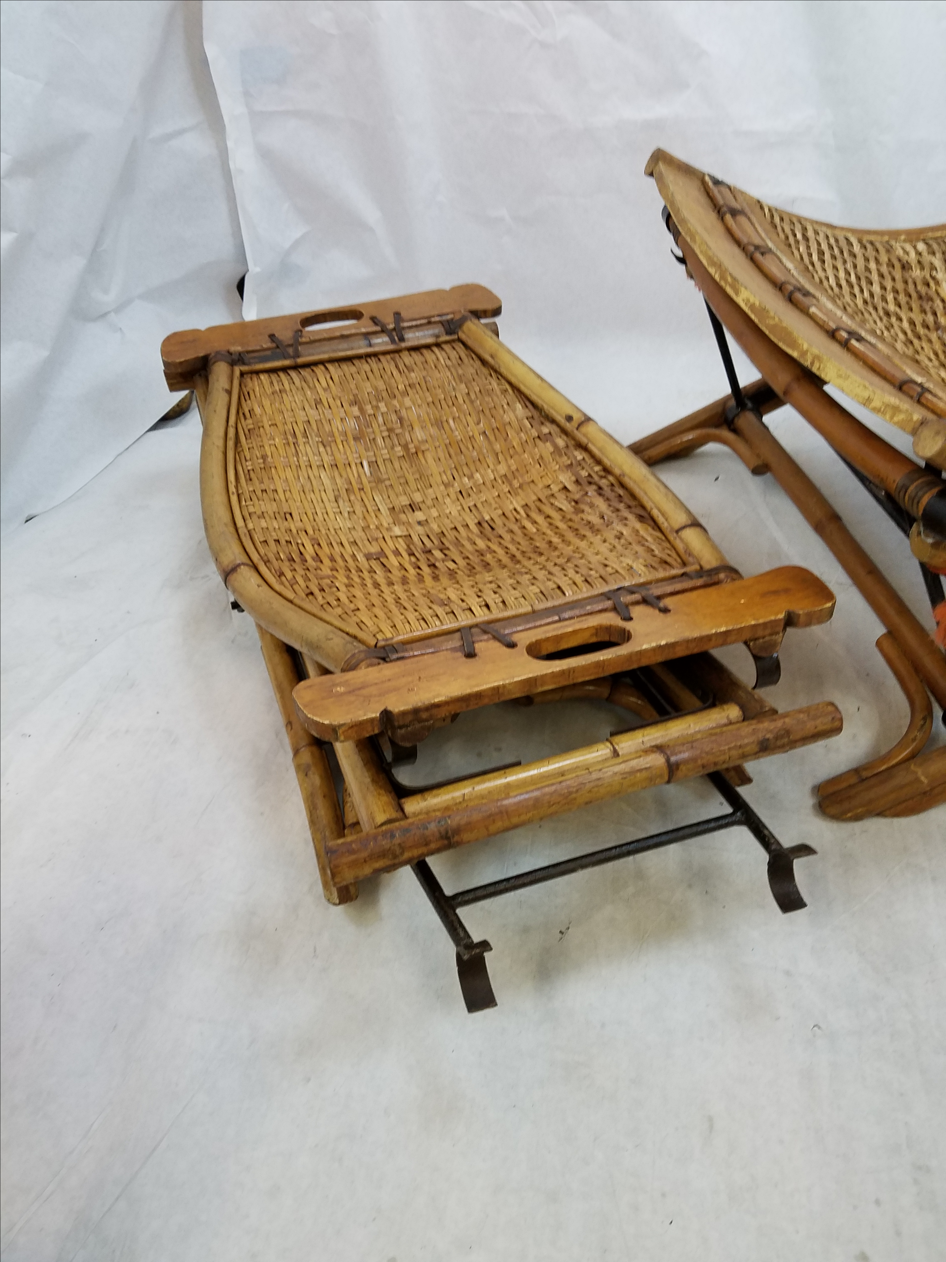 Vintage Rattan Sling Chair With Ottoman   Image 4 Of 8