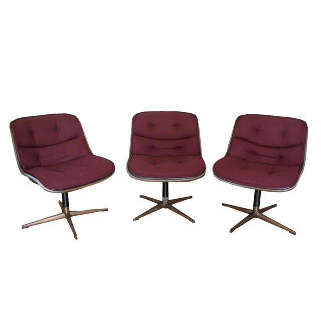 Charles Pollock Knoll Armless 4 Star Base Side Chairs- Set of 3 - Image 1 of 10