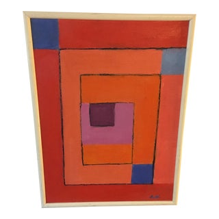 Vintage Geometric Abstract Painting on Canvas