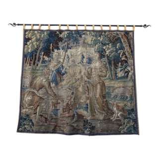 18th Century French Figural Tapestry on Iron Rod