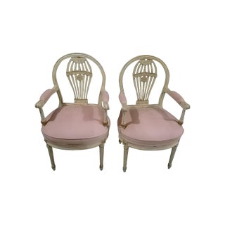Elegant Louis XV Scalamandre Blush Suede Chairs