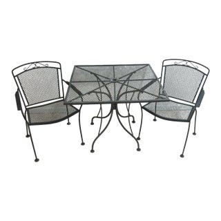 Vintage Woodard Iron Outdoor Patio Dining Table & Chairs - Set of 3