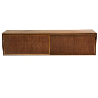 Florence Knoll Wall Hanging Credenza in Walnut with Cane Doors and Oak Shelves