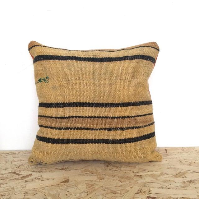 Vintage Hemp & Wool Striped Kilim Pillow - Image 2 of 5