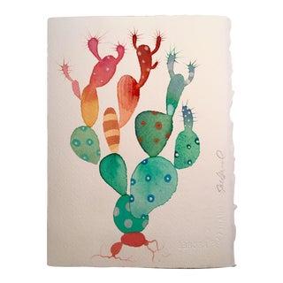 """Steve Klinkel """"Candle Cactus"""" Watercolor Painting"""