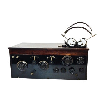 1920s 4 Tube Regen Wood Case Radio & C. Brandes Headphones