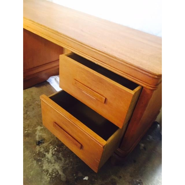 Art Deco Solid Light Oak Desk - Image 5 of 6