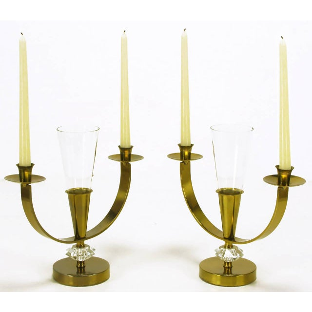 Image of Pair of Brass and Crystal Candelabra