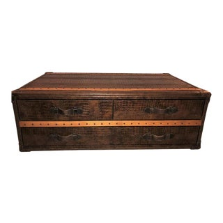 Leather Alligator Style Oak Trimmed Trunk or Coffee Table