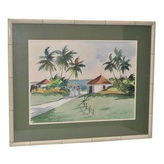Mid-Century Caribbean Watercolor by John Ward
