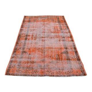 Turkish Orange Tribal Oushak Carpet - 4′6″ × 6′10″