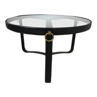 Jacques Adnet Stitched Leather Cocktail Table