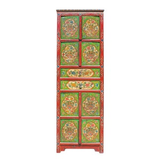 Chinese Tibetan Green Red Dragon Heads Tall Storage Cabinet
