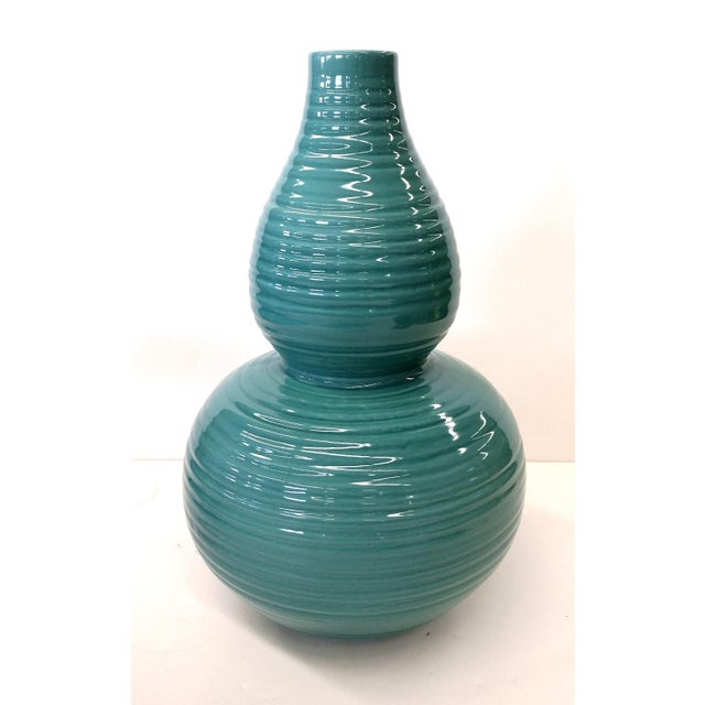 Transitional Turquoise Ribbed Custom Lamp Base - Image 3 of 11