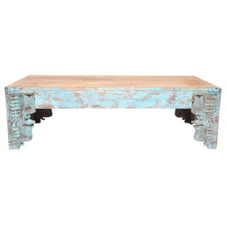 Turquoise Carved Peacock Coffee Table