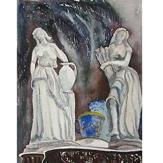 Original Vintage Classical Figural Watercolor