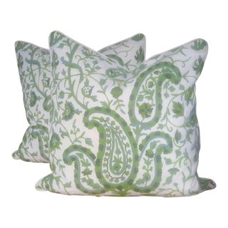 Paisley Crewelwork Pillows - A Pair