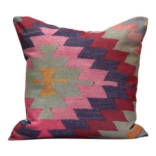 Diamond Pattern Kilim Inspired Print Pillow