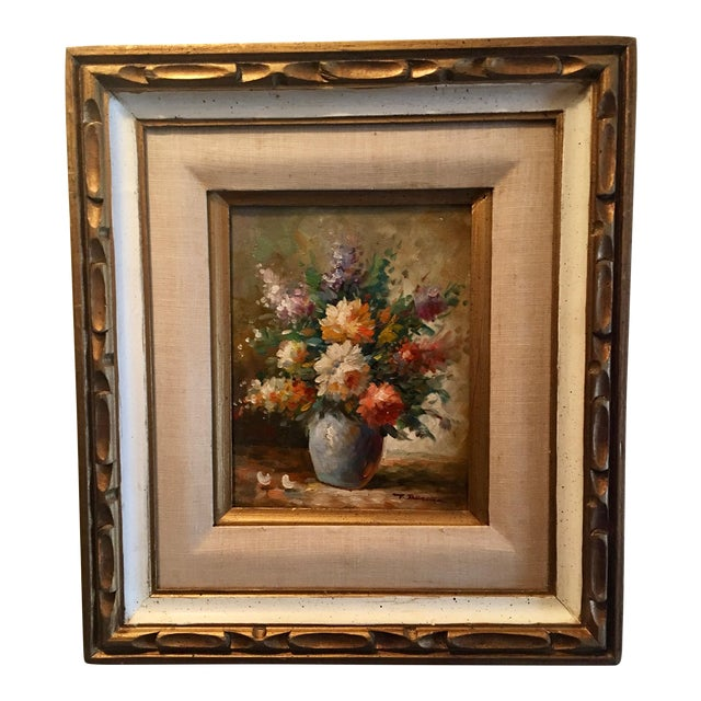 Floral Oil Painting of Dahlias & Other Flowers in a Blue Vase - Image 1 of 7
