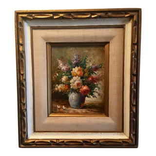 Floral Oil Painting of Dahlias & Other Flowers in a Blue Vase