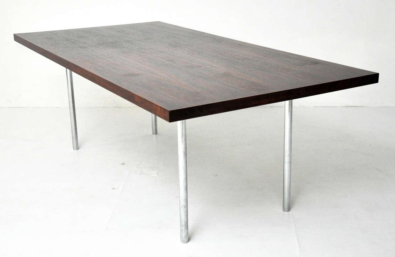 Distinguished Rosewood Dining Table After Mies Van Der