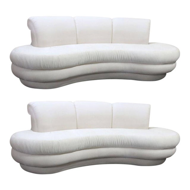 Vintage Adrian Pearsall Kidney Cloud Curved Sofas - Pair Available - Image 1 of 8