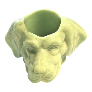 Chartreuse Glass Dog's Head Dish