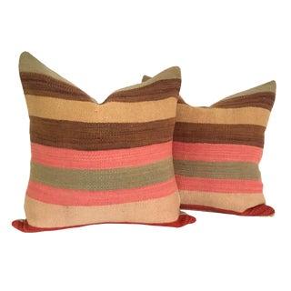 Vintage Flatweave Moroccan Pillows - A Pair